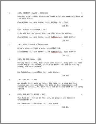 screenplay template for word