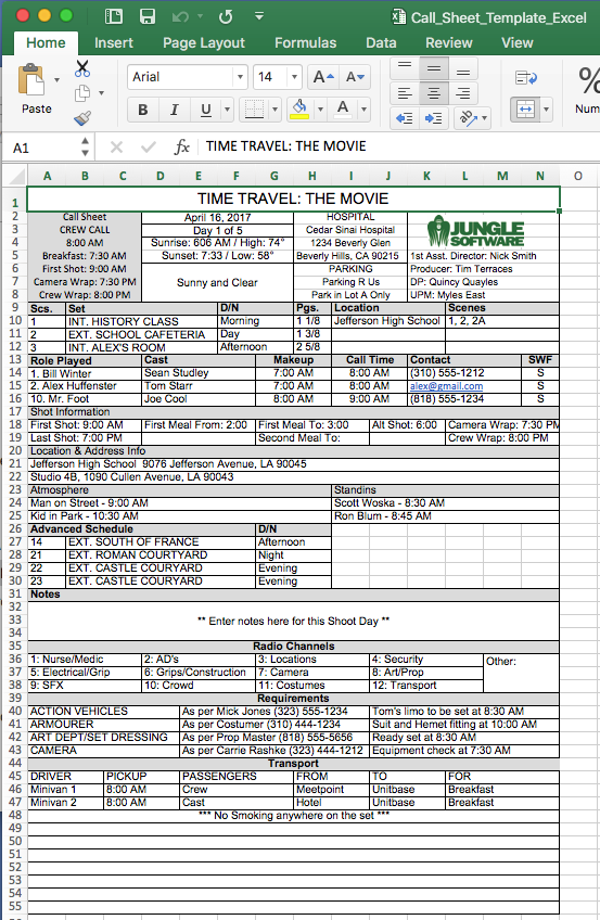 Call sheet template single page call sheet.